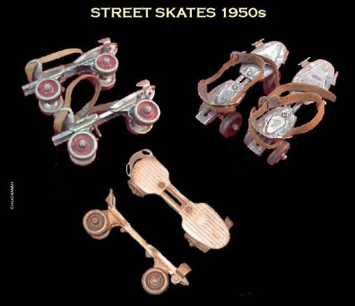 MONTAGE OF STREET SKATES - 1950s INCLUDING CHICAGO BRAND