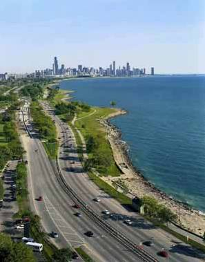 SOUTH SHORE DRIVE - NORTH OF SOUTH SHORE - AERIAL WITH SKYLINE