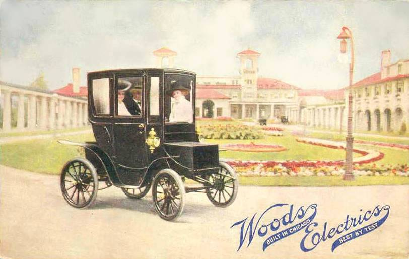 POSTCARD - CHICAGO - WOODS ELECTRIC CARS - SOUTH SHORE COUNTRY CLUB - 1911
