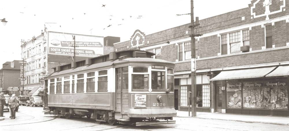 PHOTO - CHICAGO - 79TH STREET - JUST W OF EXCHANGE - LOOKING NW - WALGREEN'S - CHELTEN  LIQUORS - SIGN FOR SOUTH SHORE NATIONAL BANK - MID 1940s - EDITED FROM AN IMAGE ON TROLLEYDODGER'S SITE